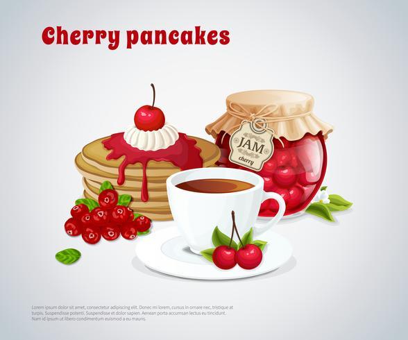 körsbär pannkakor illustration