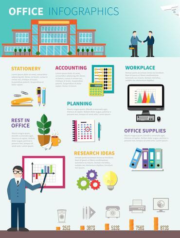 Plantilla plana infografía oficina vector