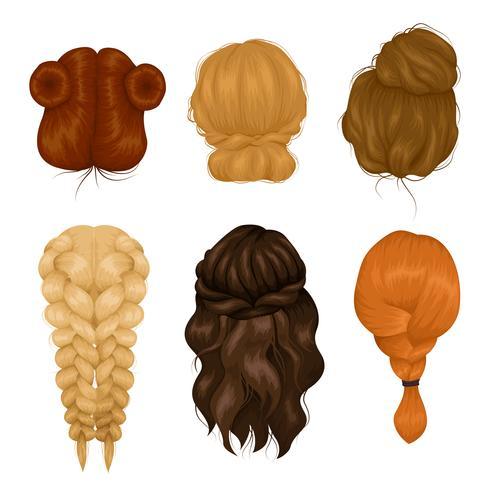 Coleção de ícones de vista traseira de penteado de mulheres vetor