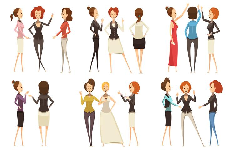 Groups Of Businesswomen Cartoon Style Set