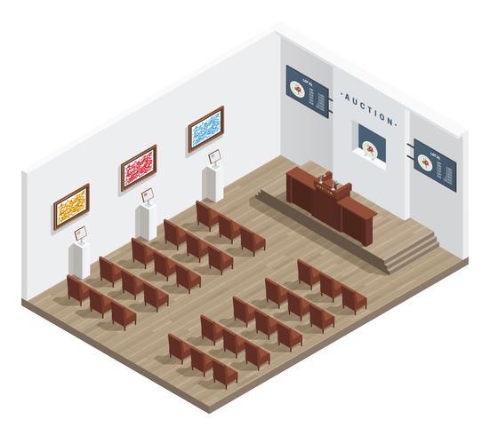Interior moderno da sala de leilões vetor