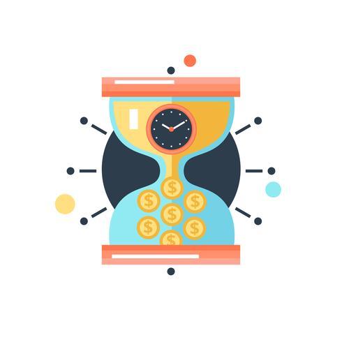 Icône illustration temps argent métaphore conceptuelle vecteur