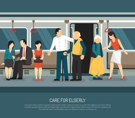 Care For Elderly Illustration vector