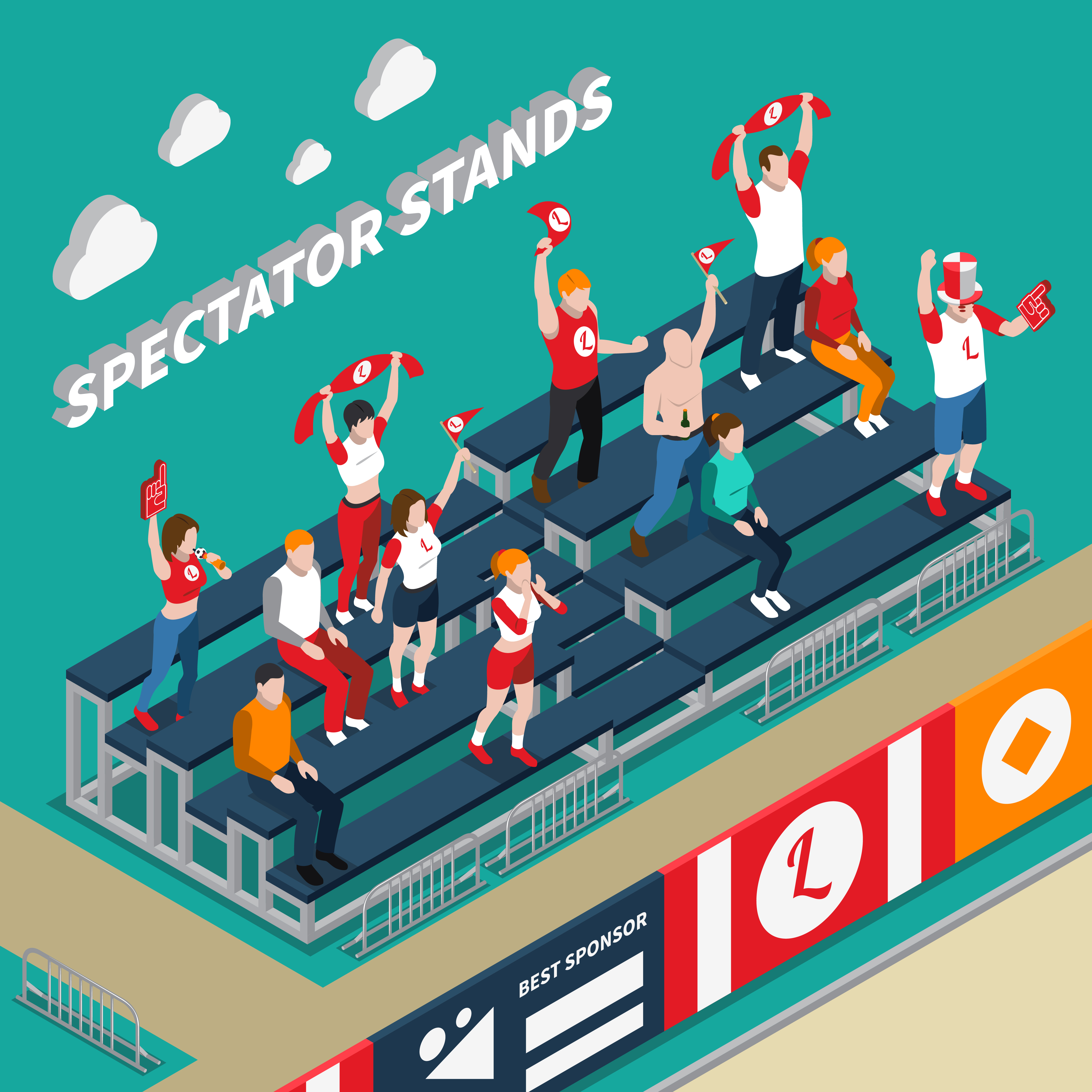 Cheering Crowd in Soccer Stadium Clipart Image