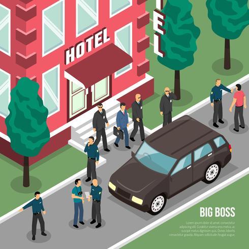 Big Boss com segurança isométrica ilustração