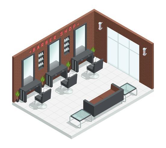 Barbershop Salon isometrisches Interieur