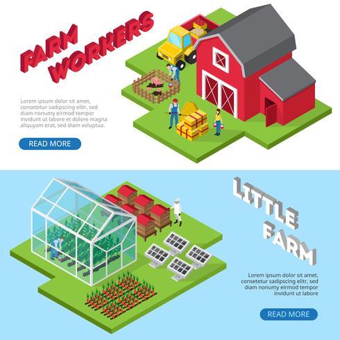 Banners isométricos de pequenas instalações de trabalho de fazenda