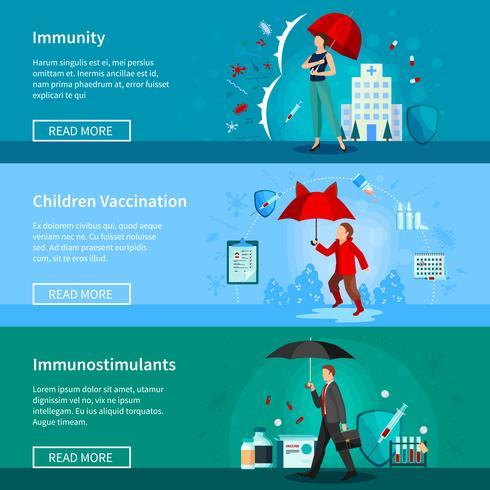 Conjunto de bandeiras de imunidade e vacinação