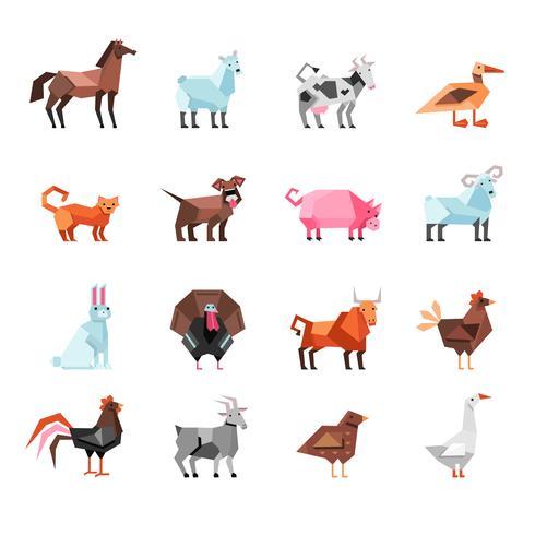 Geometric Farm Animals Set