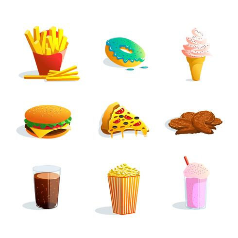 Conjunto de dibujos animados de comida rápida vector