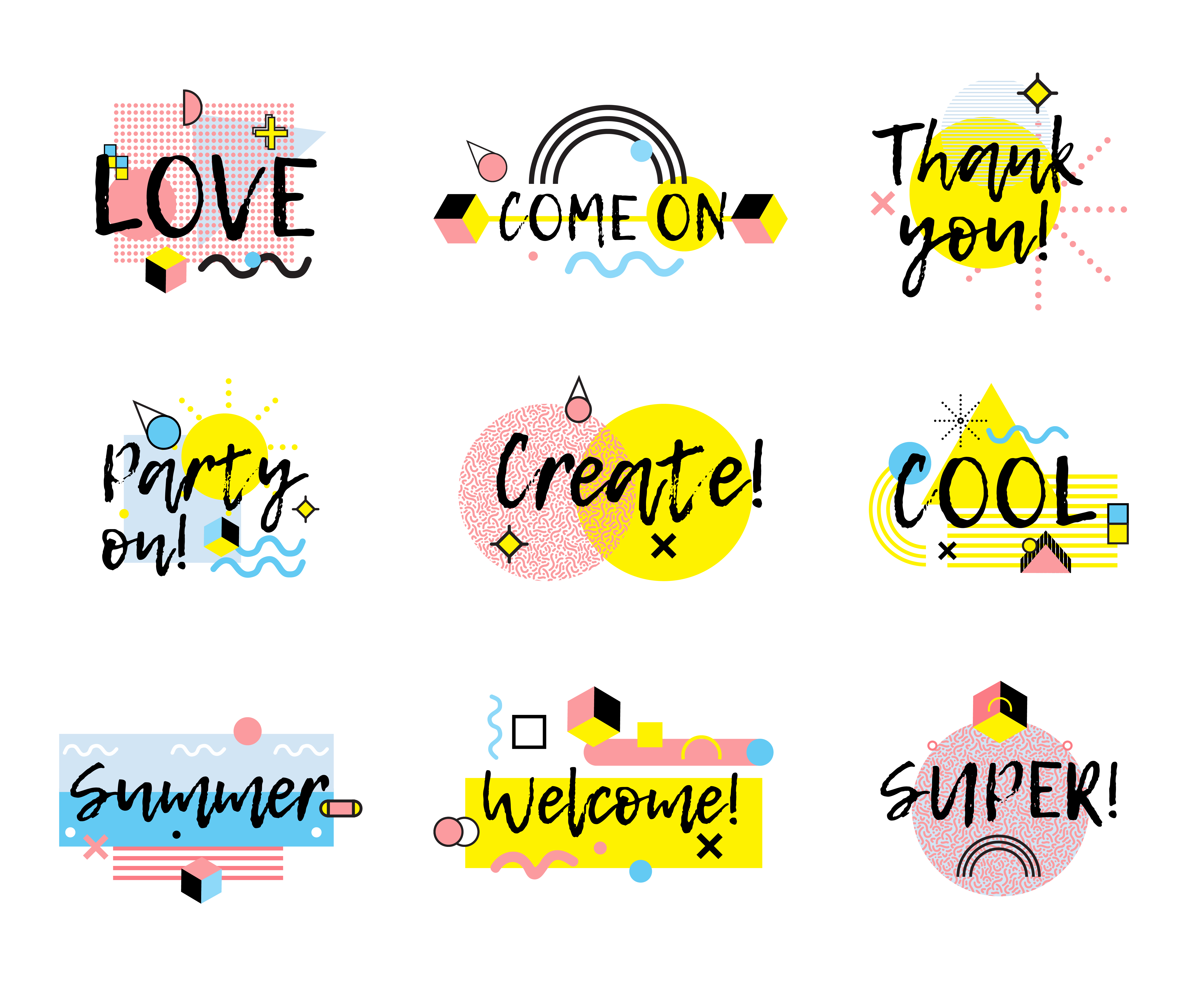 Hand Drawn Phrases Collection Memphis Style - Download ...