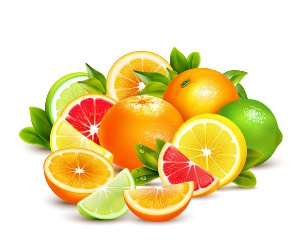 Composição realista de coleção de citrinos