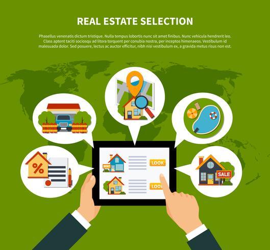 Concepto de selección de bienes raíces