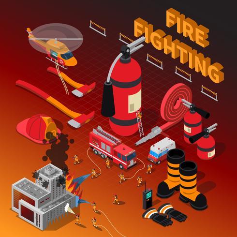 Brandweerman isometrische samenstelling vector