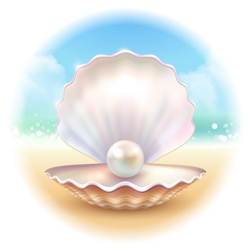 Shell realista composición redonda