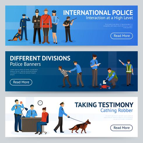 International Police Service Flat Banners Set  vector