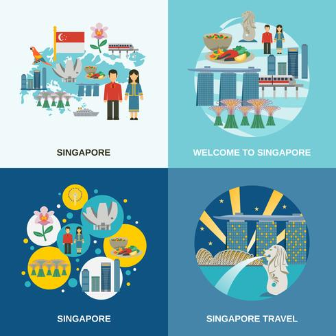Singapore Culture 4 Flat Icons Composition vector