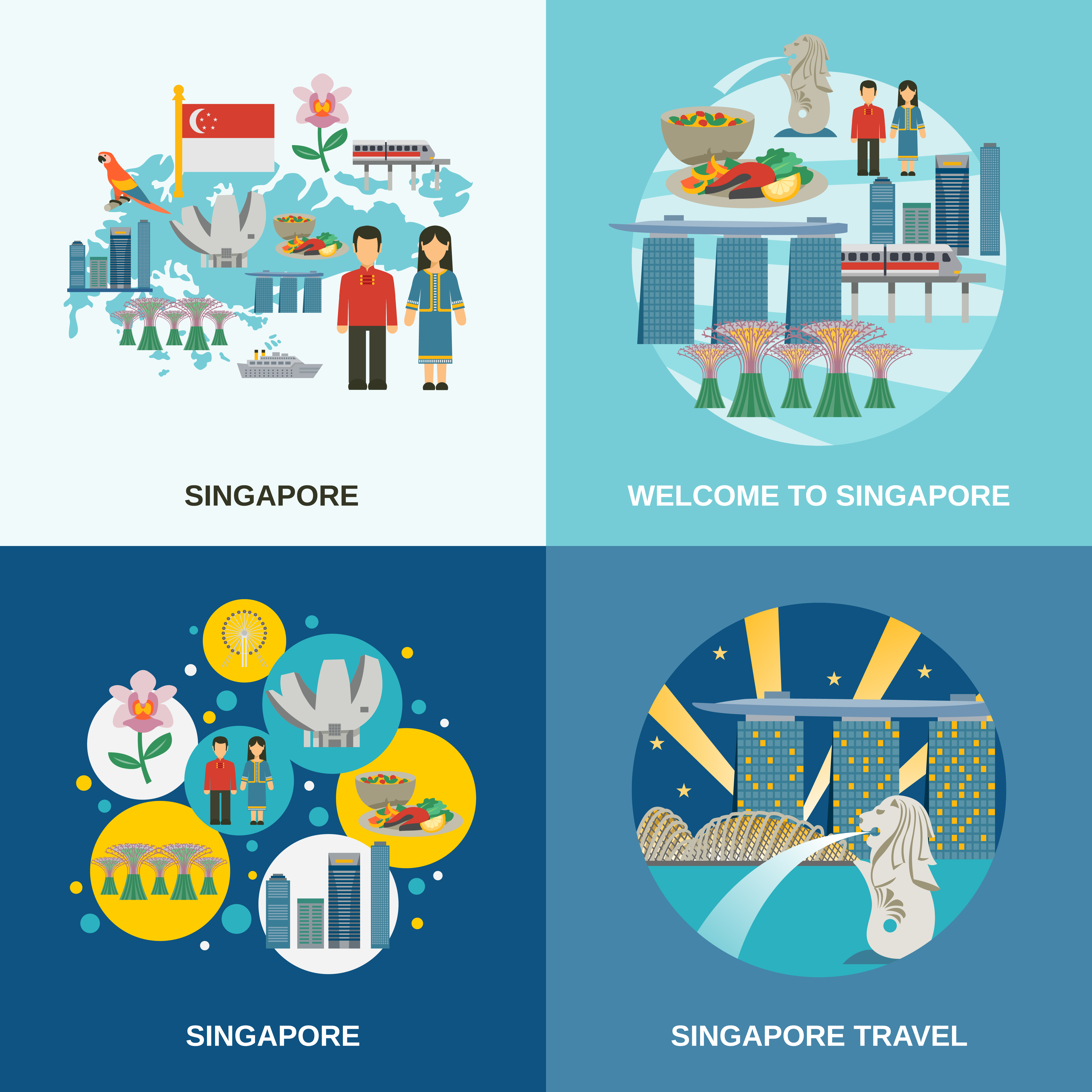 Flat Code Logo Collection: Singapore Culture 4 Flat Icons Composition