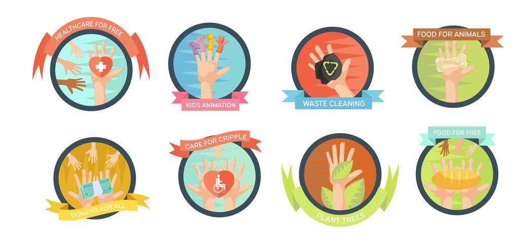 Set di icone di iniziative di volontariato