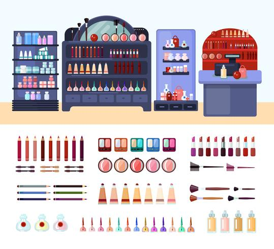 Health And Beauty Store Composition vector