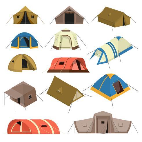 Kleurrijke toeristische tenten instellen