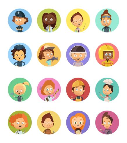 Mensen Beroep Cartoon Avatars Set