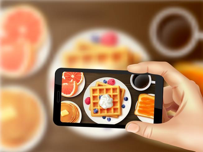 Ontbijt Smartphone Foto Realistisch Top Afbeelding vector