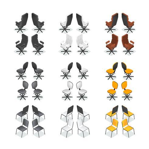 Conjunto de iconos de silla de oficina vector