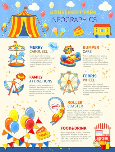 Pretpark potentiële infographics lay-out vector