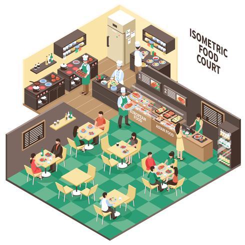 interni ristorante isometrica fastfood vettore