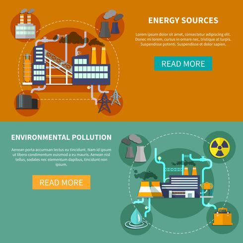 Energiebronnen en milieuvervuiling banner vector