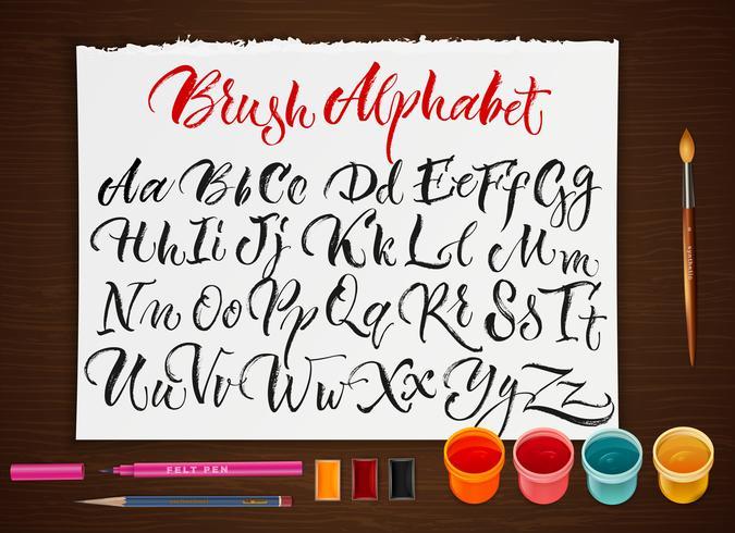 Poster met papieren blad met alfabet vector