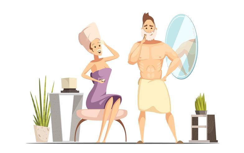 Haarentfernungs-Enthaarungs-Familien-Karikatur-Illustration