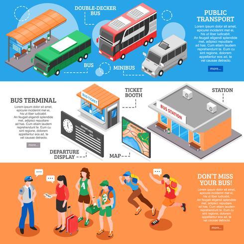 Conjunto de Banners isométricos estación de autobuses