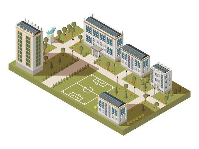 Paisaje isométrico del barrio estudiantil