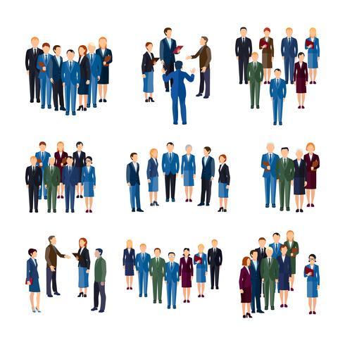 Colección de iconos planos de grupos de personas de negocios