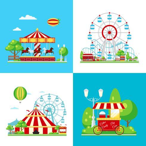 Composición coloreada del parque de atracciones vector