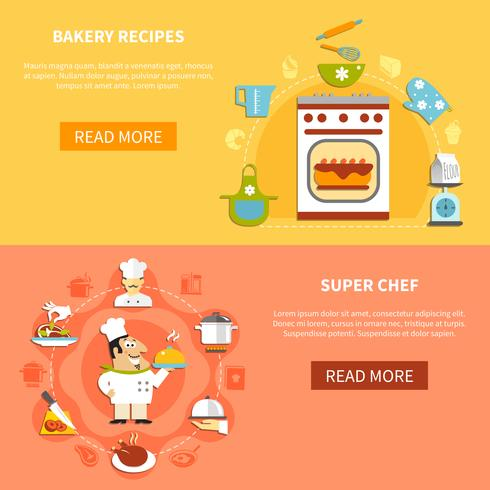 Cocina Banners horizontales vector