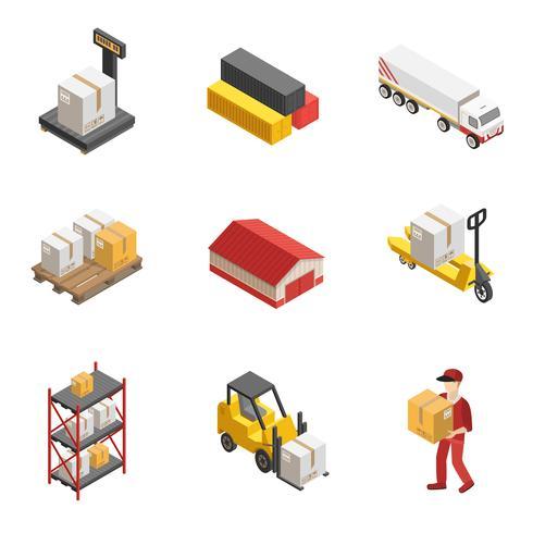 Set di icone isometriche stock logistica