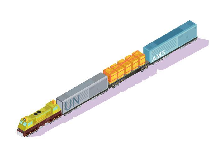 Composición isométrica del tren del ferrocarril