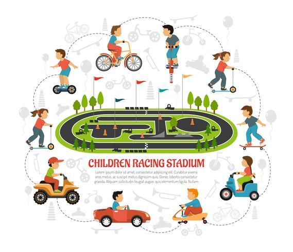 Children Racing Stadium Composition