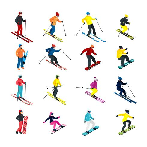 Skiing isometric set vector