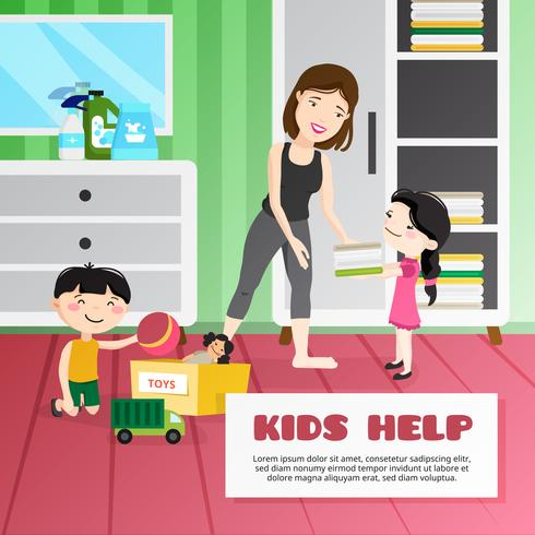 Kid Cleaning Illustration
