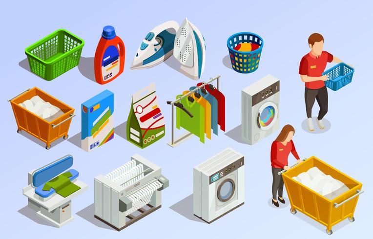 Laundry Isometric Elements Set
