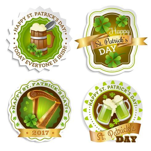 Conjunto de emblemas del día de San Patricio
