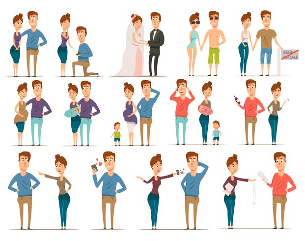 Marriage Flat Characters Set vector