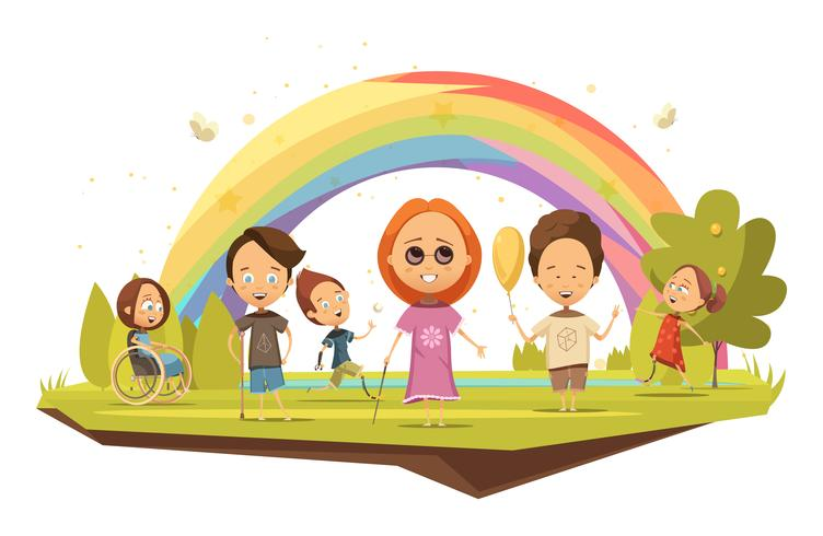 Niños discapacitados estilo de dibujos animados ilustración