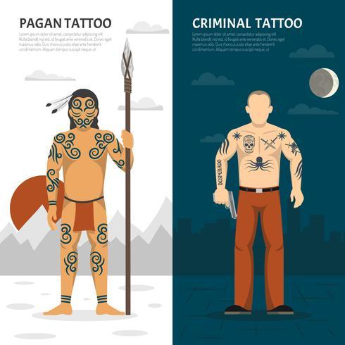 Tattoo Studio verticale banner set