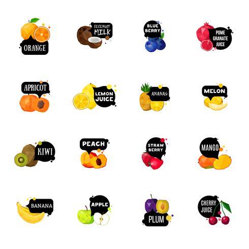 Frische Früchte beschriftet polygonale Ikonen-Sammlung