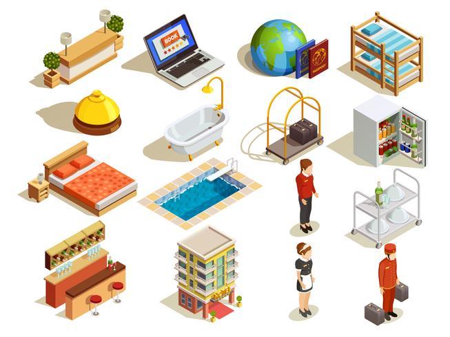 Hotel Isometric Elements Set
